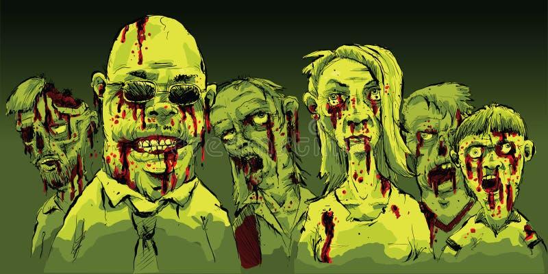 Zombis sangrentos ilustração do vetor