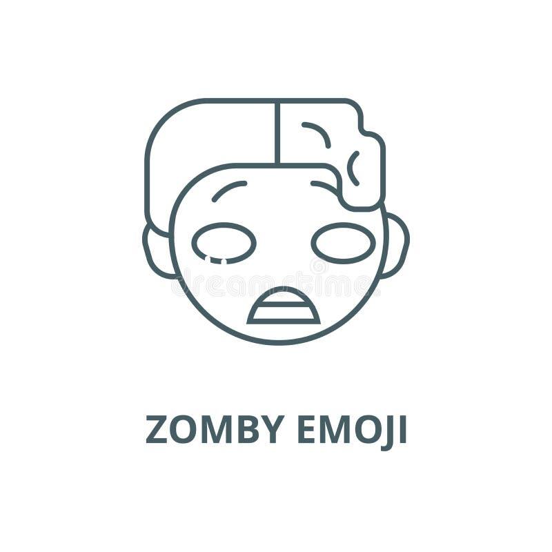 Zomby emoji传染媒介线象,线性概念,概述标志,标志 库存例证