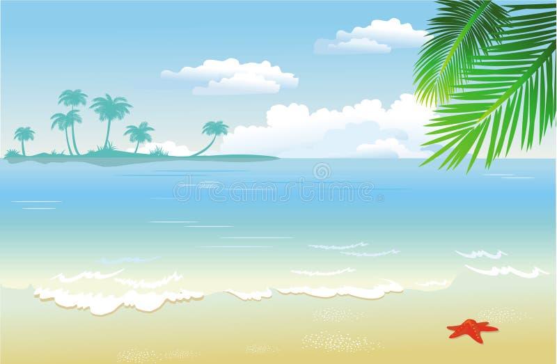 Zomer bij het strand stock illustratie