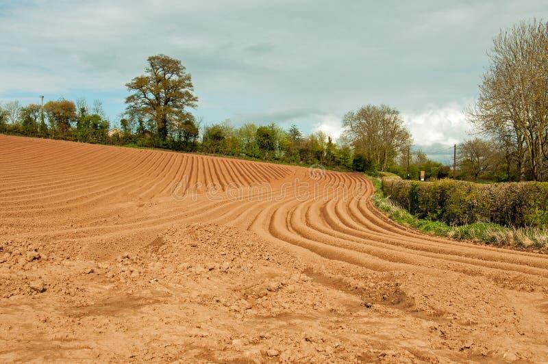 Zomer landbouwlandschap en geploegde gebieden in het Engelse platteland stock fotografie