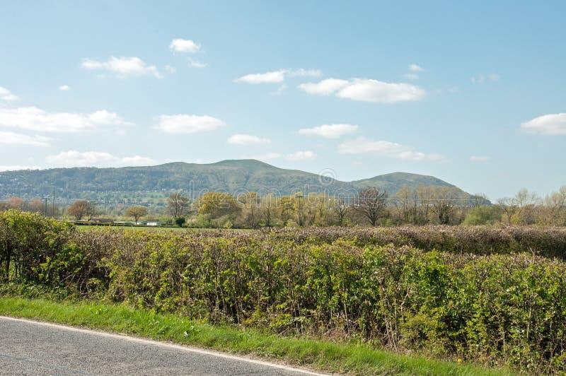 Zomerlandschap in de Malvern-heuvels stock afbeelding