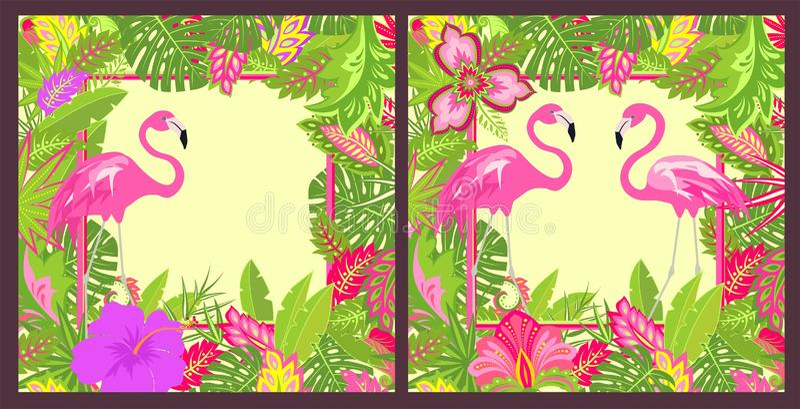Zomerse bloemenvariatie als achtergrond met plaats voor tekst met tropische bladeren, paar van mooie roze flamingo en exotische b vector illustratie
