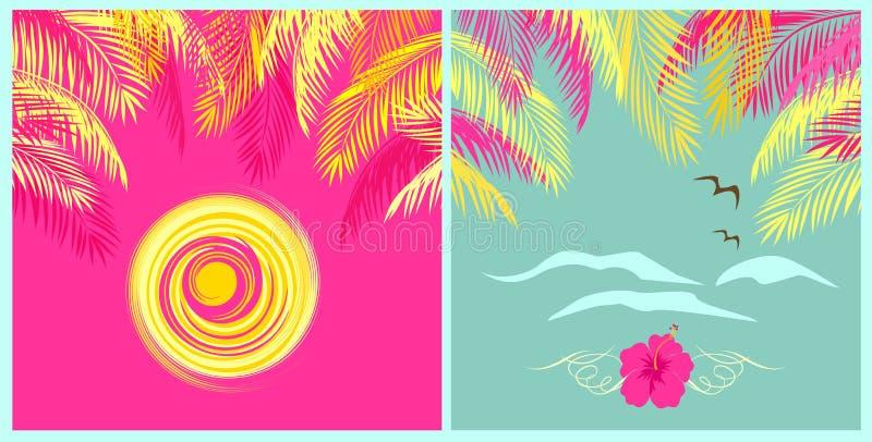 Zomerse muntkleur en roze achtergronden met palmbladen, zon, zeemeeuw en hibiscus stock illustratie
