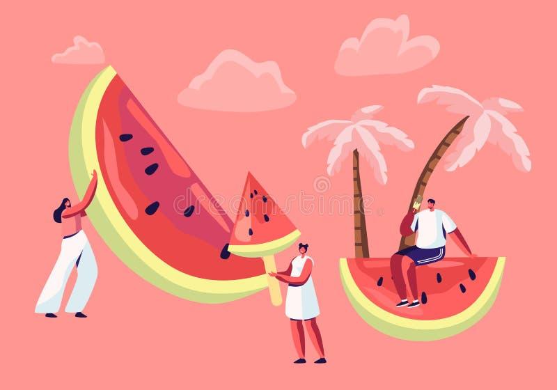 Zomervrije tijd, Strandpartij Uiterst kleine Mannelijke en Vrouwelijke Karakters met Reusachtige Watermeloen Mensen die de zomer  stock illustratie