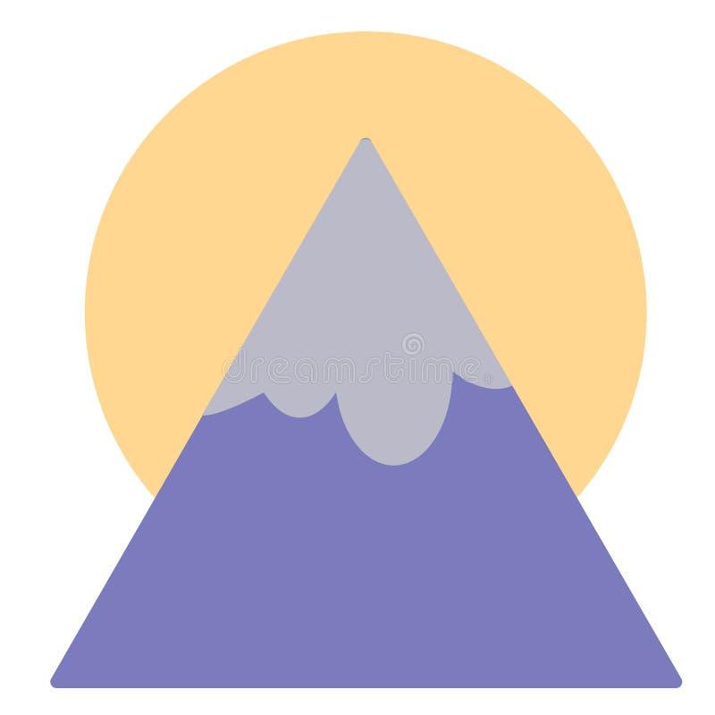 Zon achter berg vlakke illustratie op wit stock illustratie