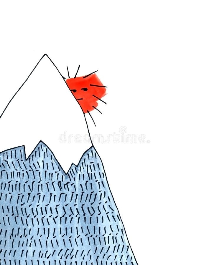 Zon achter de berg - illustratie royalty-vrije illustratie