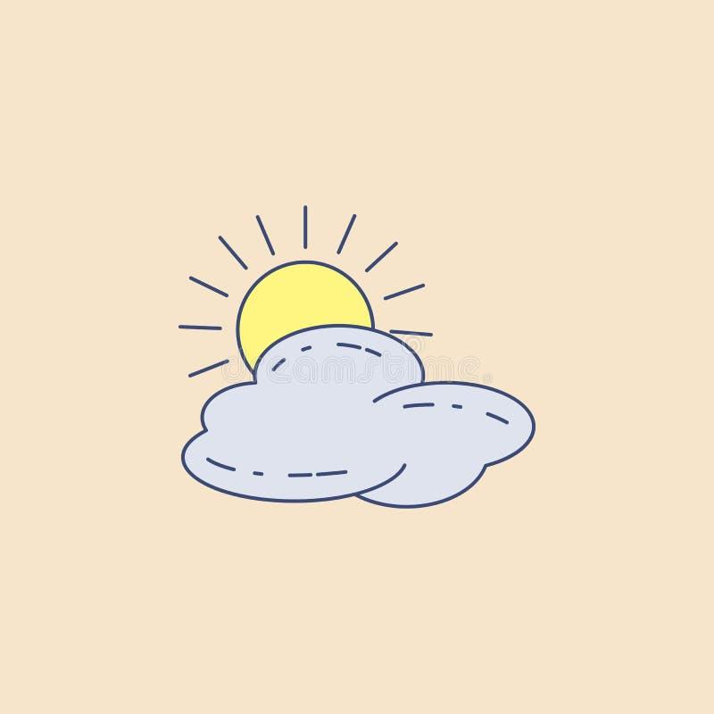 zon achter het overzichtspictogram van het wolkengebied Element van openluchtrecreatiepictogram voor mobiel concept en Web apps D vector illustratie