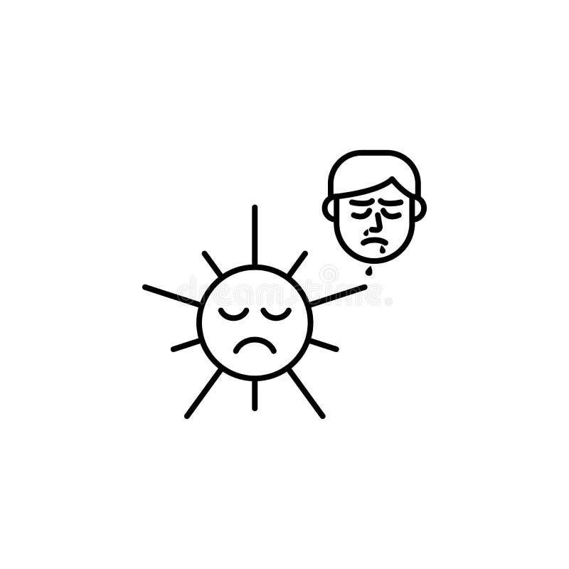 Zon, allergisch gezichtspictogram Element van problemen met allergieënpictogram Dun lijnpictogram voor websiteontwerp en ontwikke royalty-vrije illustratie