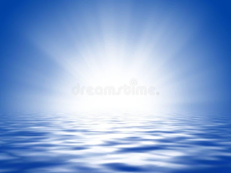Zon, blauwe hemel en oceaan vector illustratie