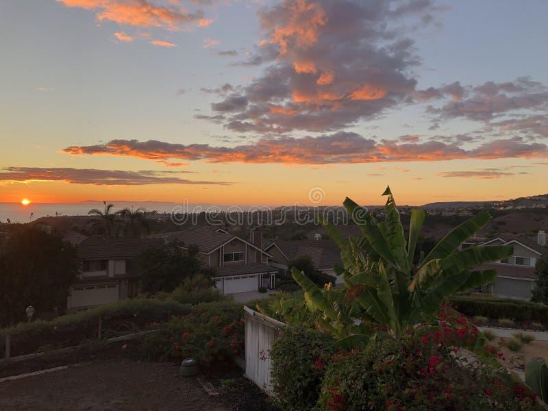 Zon in Californië wordt geplaatst dat royalty-vrije stock foto