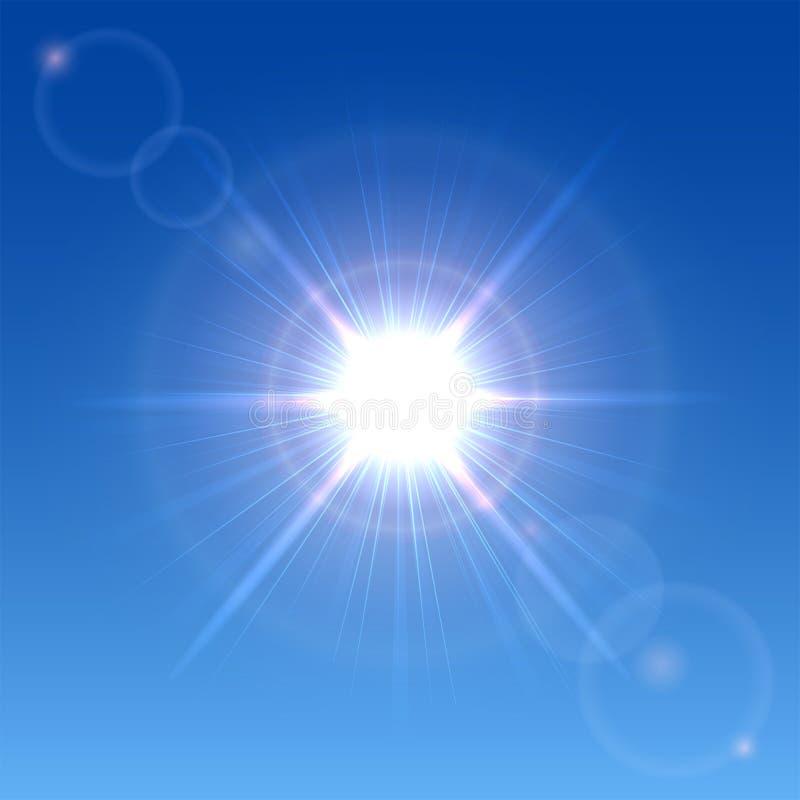 Zon in de hemel royalty-vrije illustratie