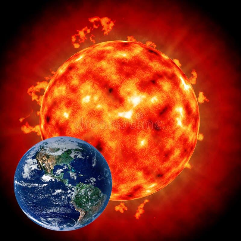 Zon: de invloed op de Aarde royalty-vrije illustratie
