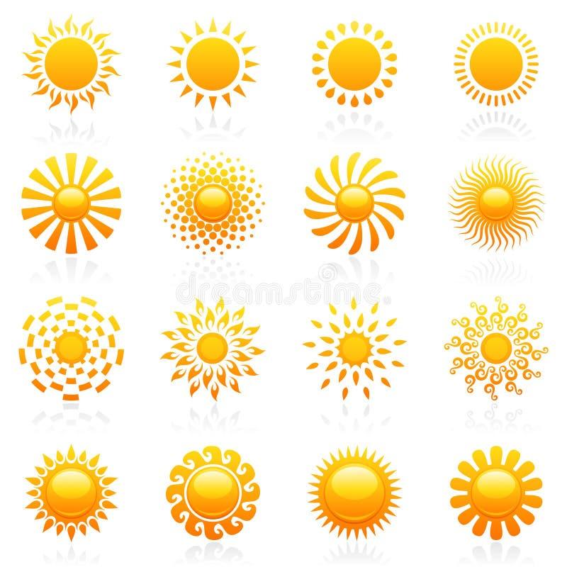Zon. De vector reeks van het embleemmalplaatje. stock illustratie