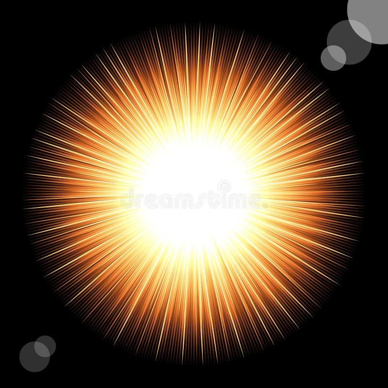 Zon in de zwarte kosmische hemel. royalty-vrije illustratie
