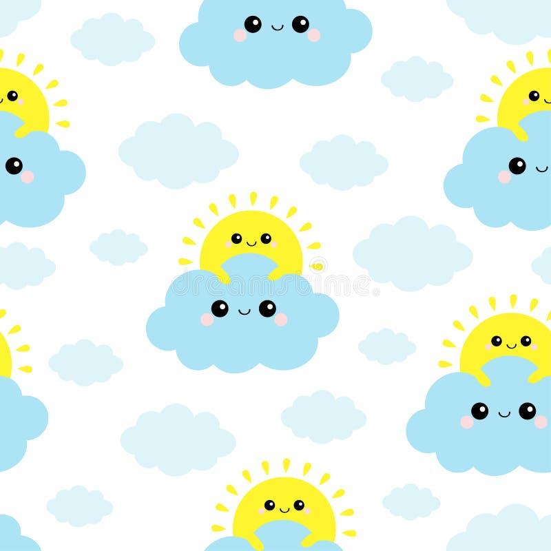 Zon die blauwe wolk in de hemel houden Naadloos patroon Leuk grappig glimlachend de babykarakter van beeldverhaalkawaii - reeks V vector illustratie