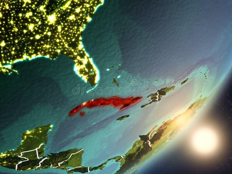 Zon die boven Cuba van ruimte toenemen stock illustratie
