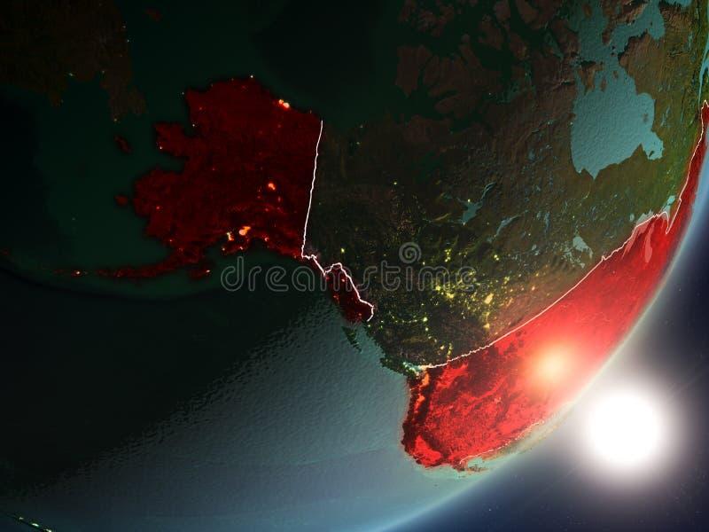 Zon die boven de V.S. van ruimte toenemen stock illustratie