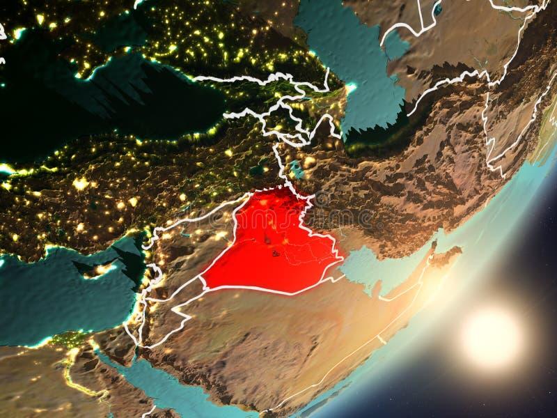 Zon die boven Irak van ruimte toenemen stock illustratie