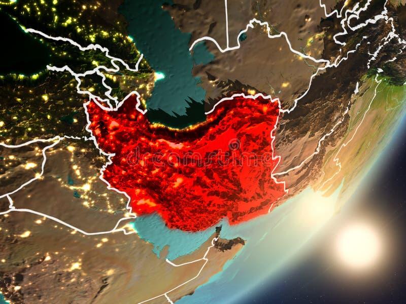 Zon die boven Iran van ruimte toenemen royalty-vrije illustratie
