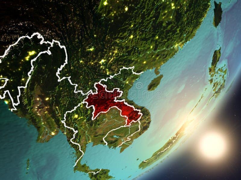 Zon die boven Laos van ruimte toenemen stock illustratie
