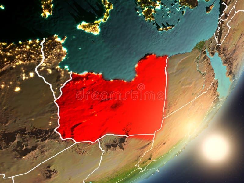 Zon die boven Libië van ruimte toenemen vector illustratie