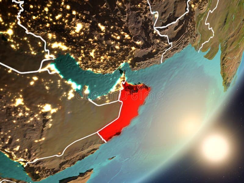 Zon die boven Oman van ruimte toenemen vector illustratie