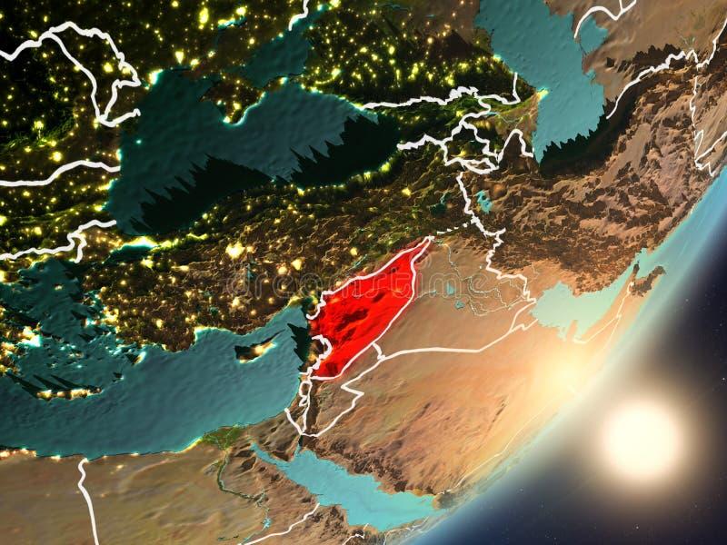 Zon die boven Syrië van ruimte toenemen royalty-vrije illustratie