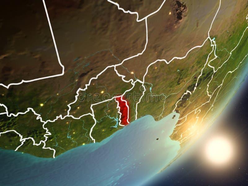 Zon die boven Togo van ruimte toenemen royalty-vrije illustratie