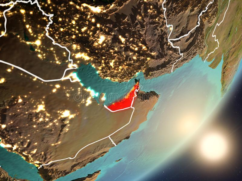 Zon die boven Verenigde Arabische Emiraten van ruimte toenemen royalty-vrije illustratie