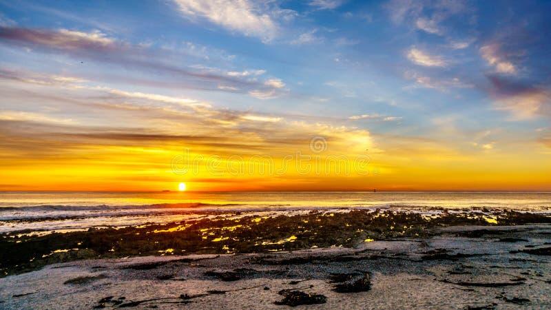 Zon die onder oranje hemel over de horizon van de Atlantische Oceaan bij Kampenbaai dichtbij Cape Town plaatsen royalty-vrije stock fotografie