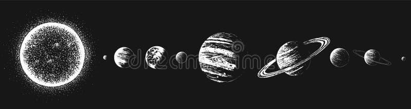 Zon en alle planeten stock illustratie