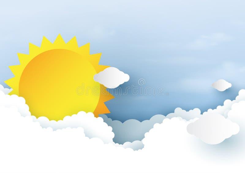 Zon en bewolkt op blauwe hemel achtergronddocument kunststijl royalty-vrije illustratie