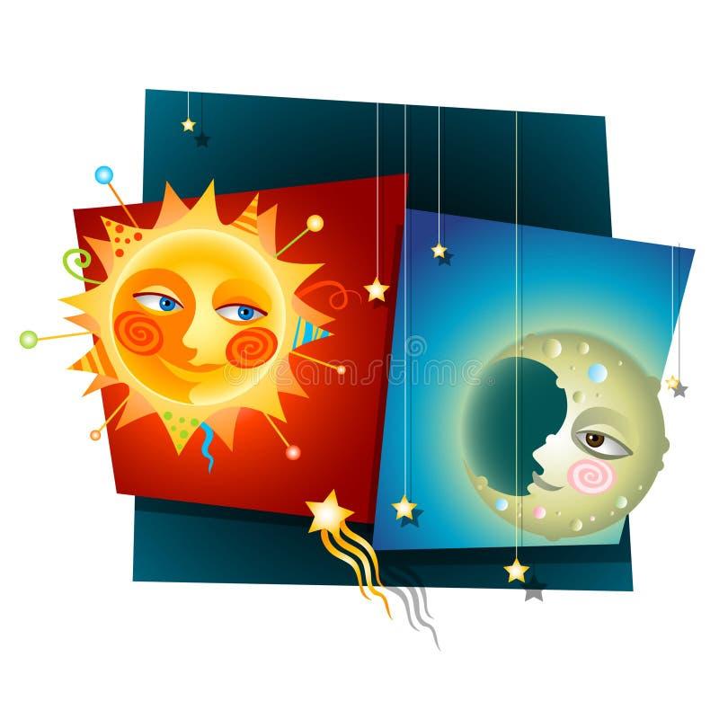 Zon en Maan royalty-vrije illustratie