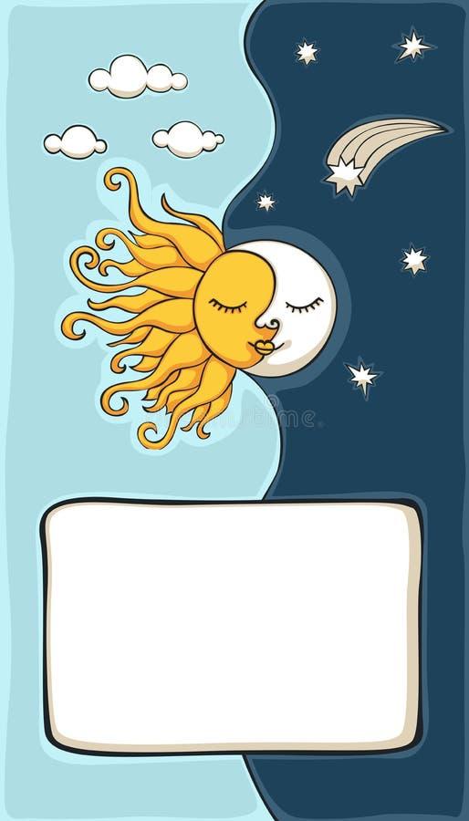 Zon en maan vector illustratie