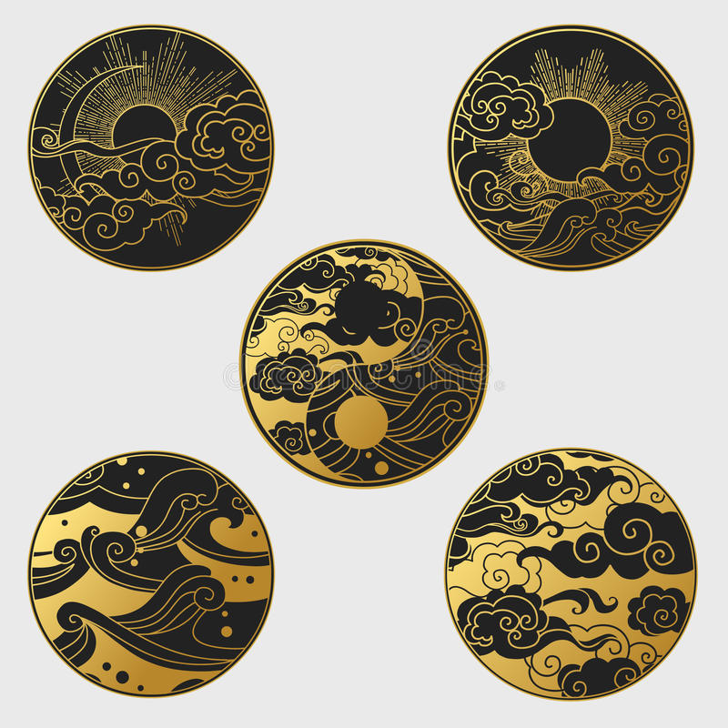 Zon en maan in de hemel over het overzees Inzameling van decoratieve grafische ontwerpelementen in oosterse stijl royalty-vrije illustratie