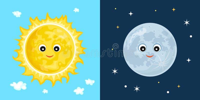 Zon en maan Leuke grappige karakters royalty-vrije illustratie
