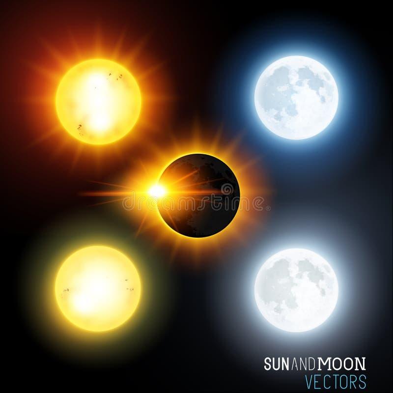 Zon en maan Vectorreeks stock illustratie