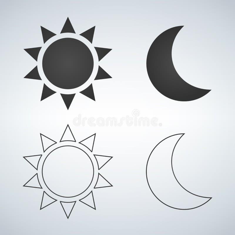 Zon en maan vlak en lineair pictogram Vectorpictogram voor Webontwerp, mobiel en infographics Vectordieillustratie op witte bedel royalty-vrije illustratie