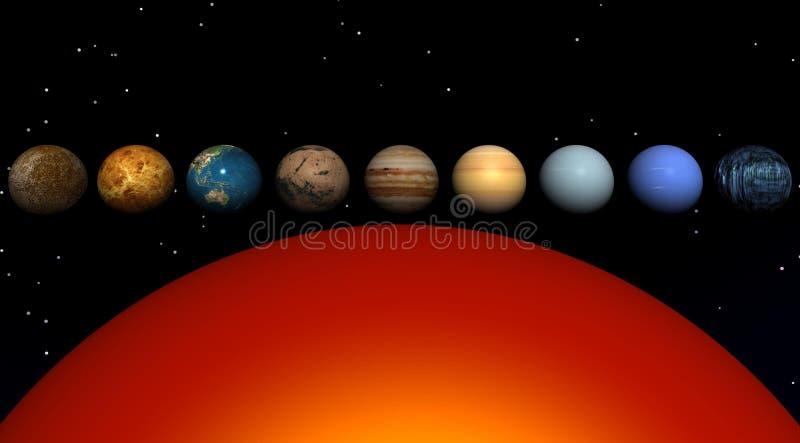 Zon en planeten royalty-vrije illustratie