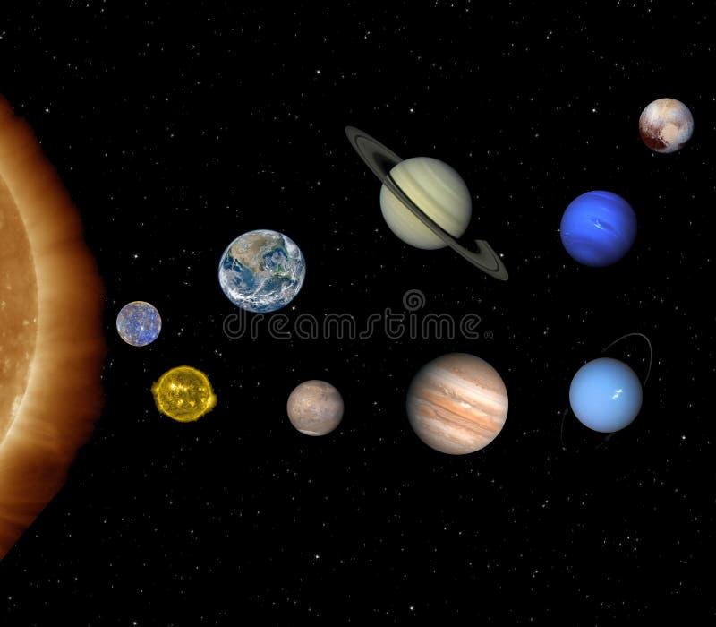 Zon en planeten van het zonnestelsel royalty-vrije stock afbeeldingen