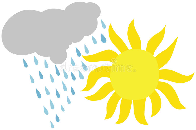 Zon en Regen stock illustratie