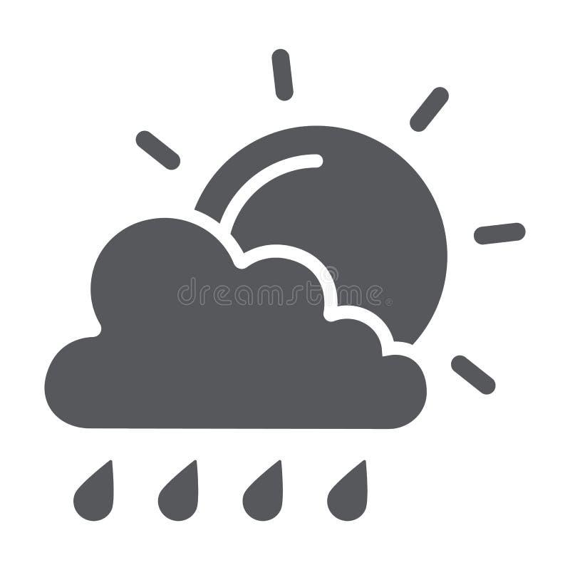 Zon en regen glyph het pictogram, het weer en de voorspelling, de wolk en de zon ondertekenen, vectorafbeeldingen, een stevig pat stock illustratie