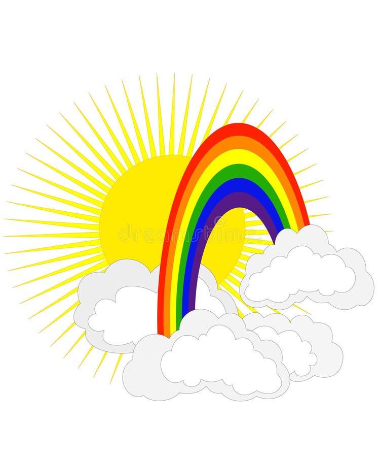 Zon en regenboog royalty-vrije illustratie