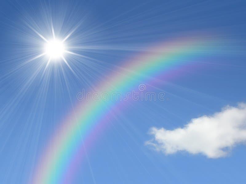 Zon en regenboog stock illustratie