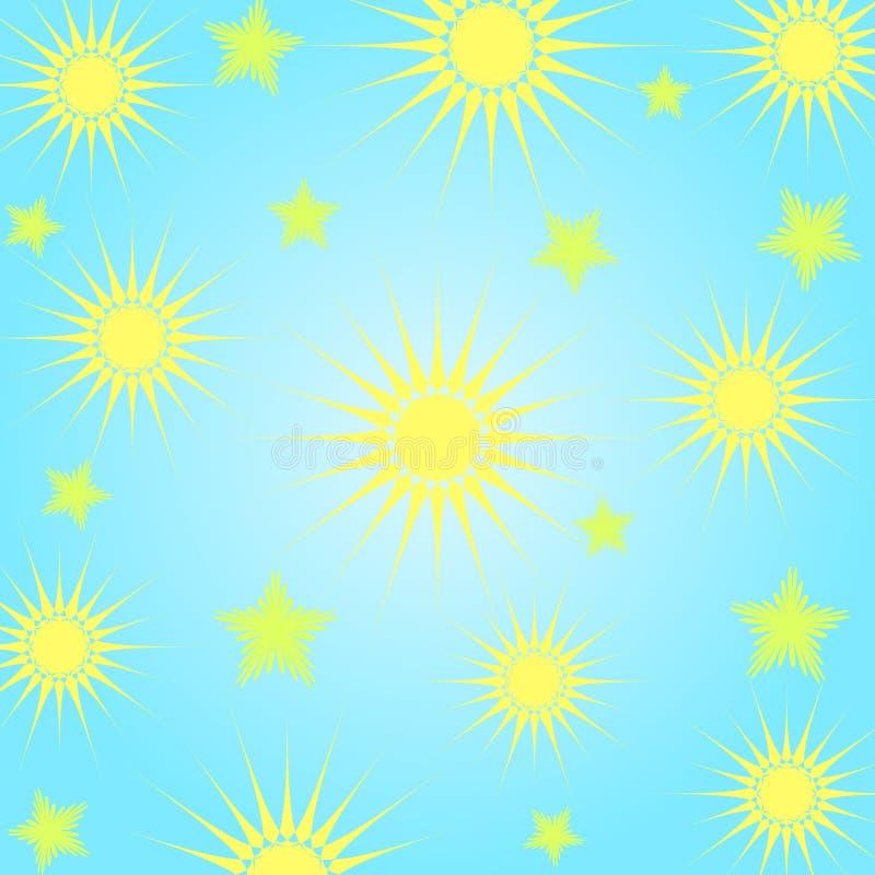 Zon en sterren stock illustratie