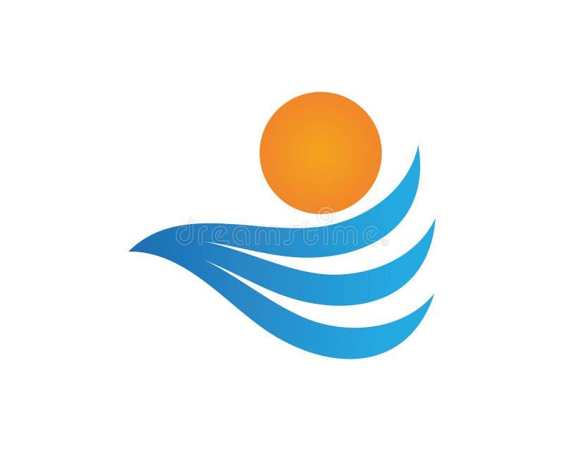 Zon en van het Golvenstrand embleem en van het symbolenmalplaatje pictogrammen app royalty-vrije illustratie