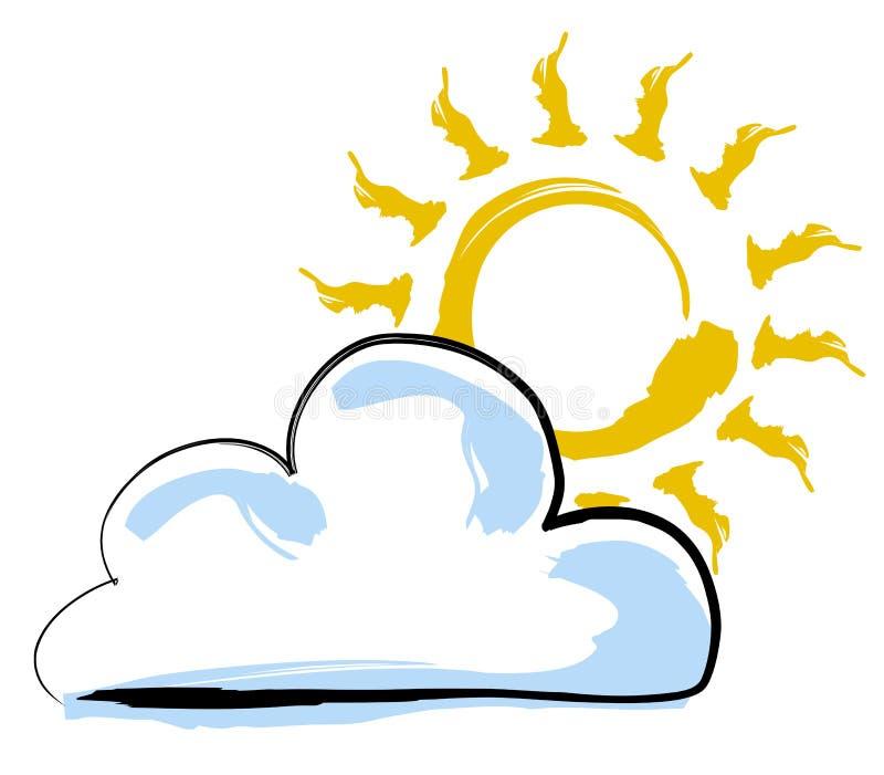 Zon en wolk stock illustratie