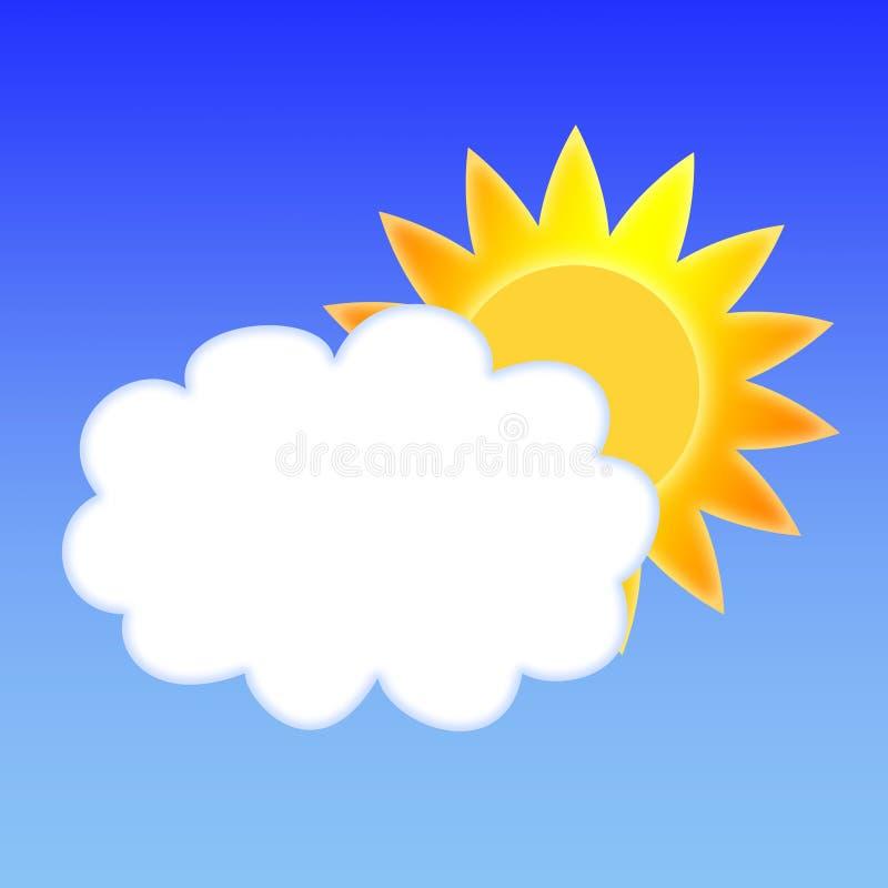 Zon en wolk vector illustratie