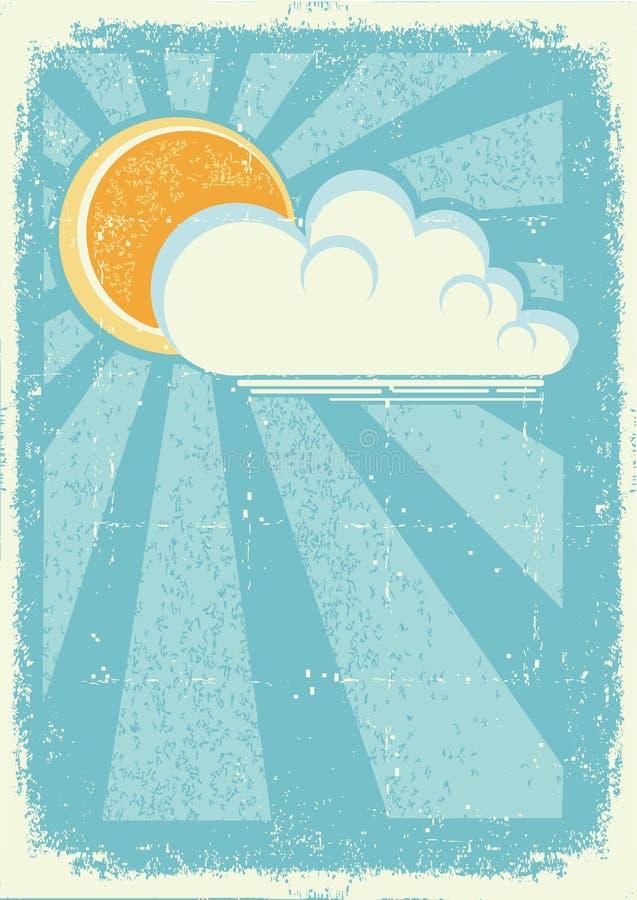 Zon en wolken. stock illustratie