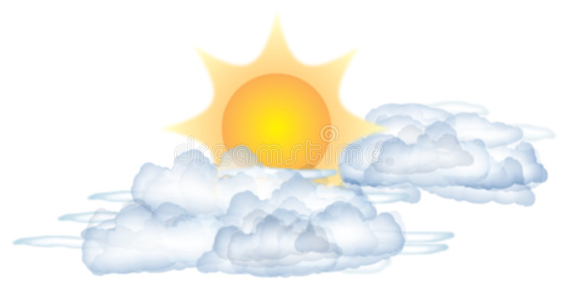 Zon en wolken vector illustratie